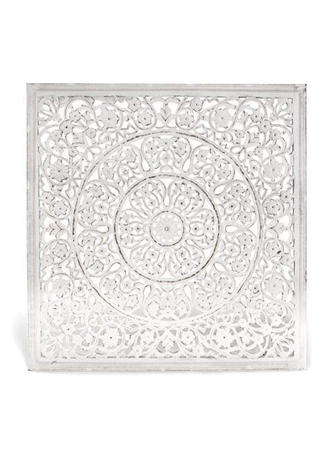 Carved Square White Wall Art