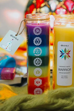 Chakra 7 Colours Glass Candle Jar