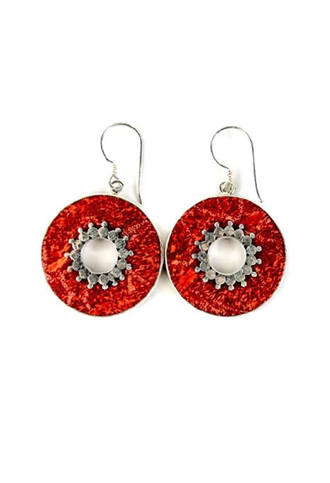 Circle Coral Earrings