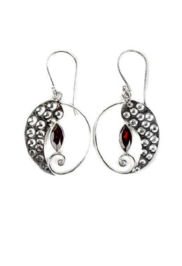 Circle Garnet Earrings