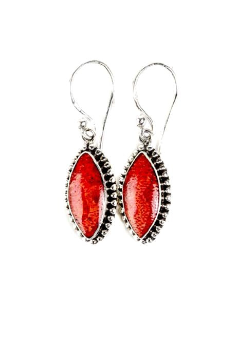 Coral Oval Earrings
