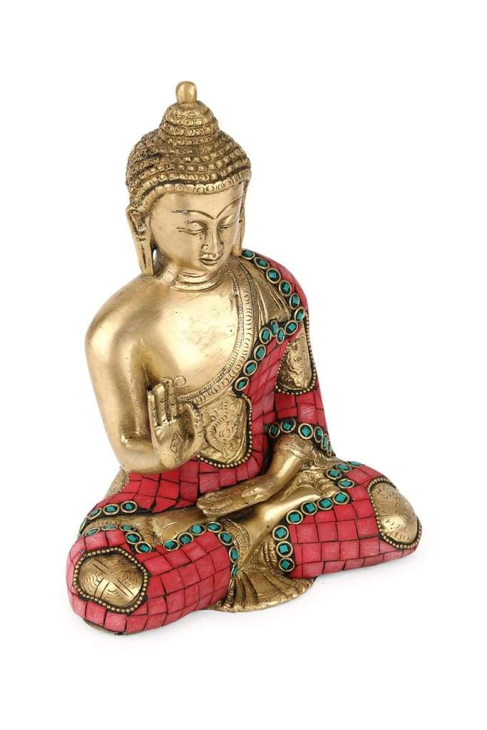 Coral Turquoise Teaching Buddha Statue