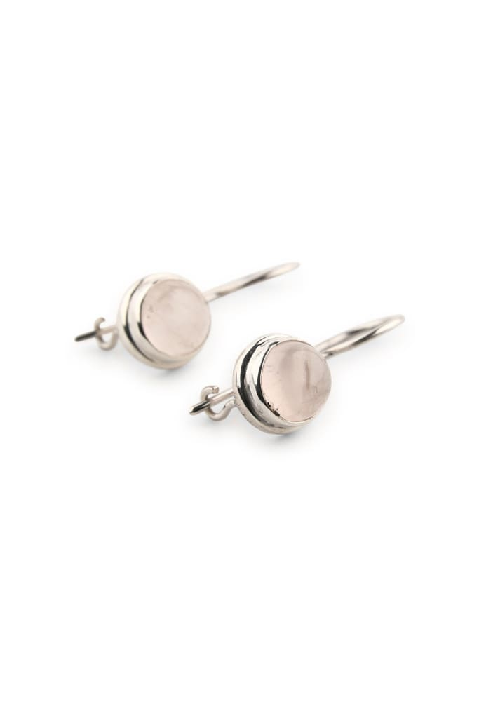 Dainty Dome Rose Quartz Droplet Earrings