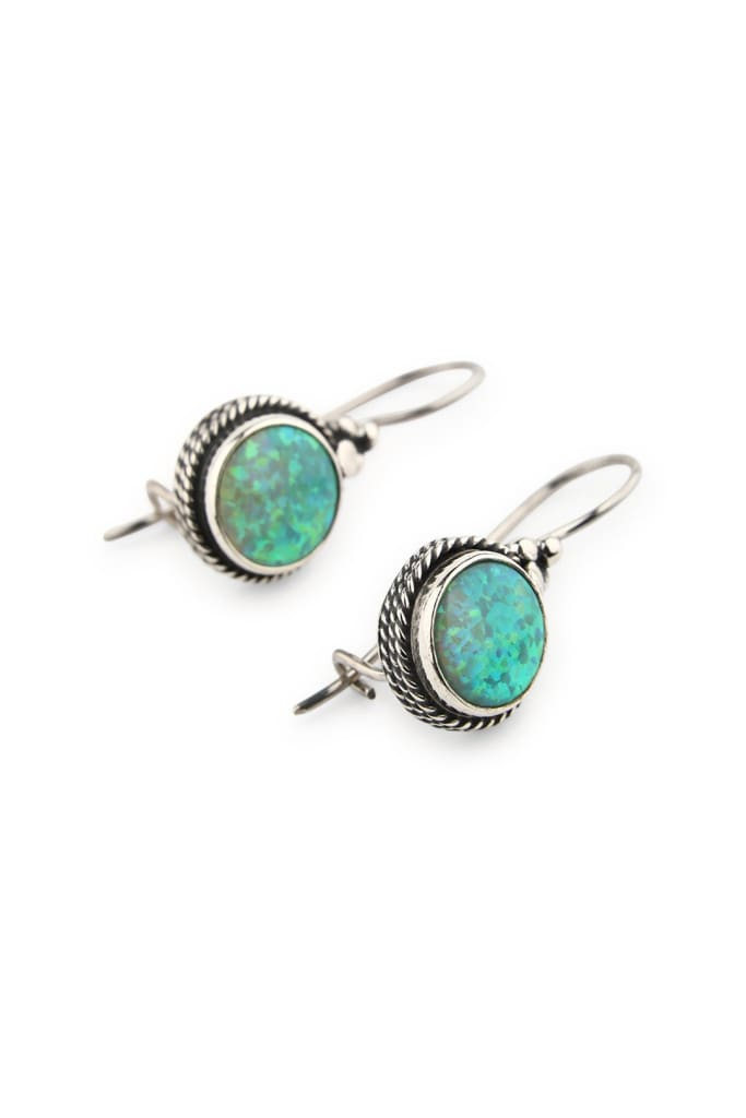 Earrings Dainty Droplet Circle Opalite