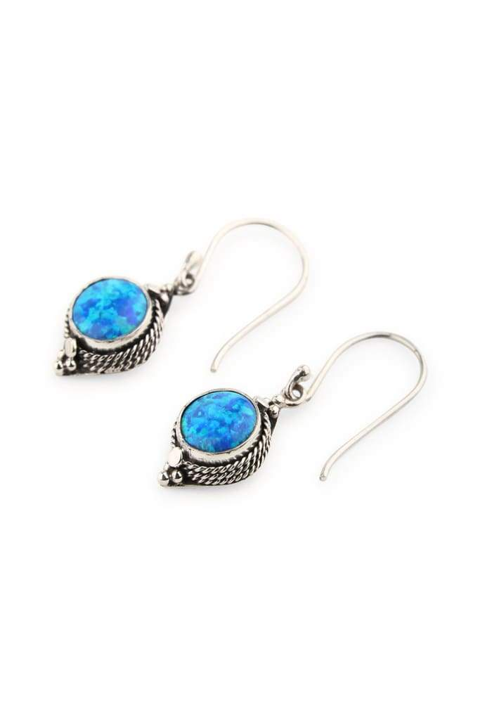 Earrings Droplet Circle Tribal Setting Opalite