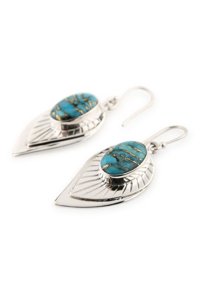 Earrings Leaf Aztec Blue Copper Turquoise