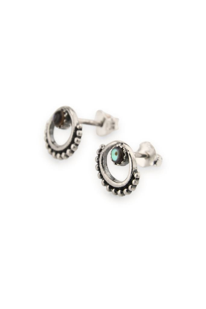 Earrings Studs Dainty Circle Dotted Edge Abalone