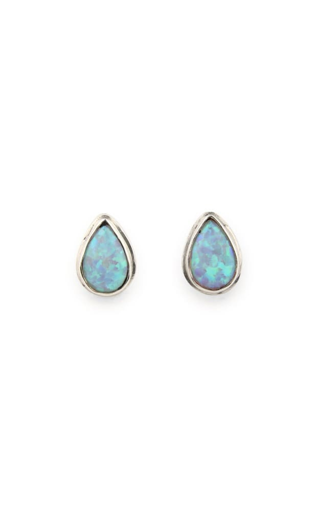 Earrings Studs Dainty Simple Setting Teardrop Opalite