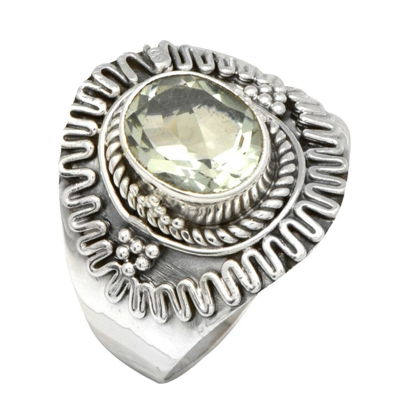 Elaborate Green Amethyst Ring