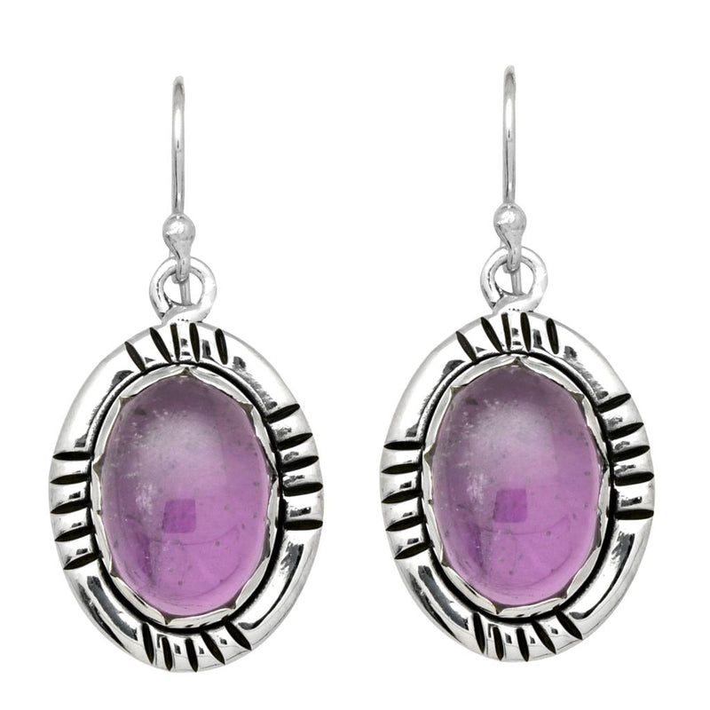 Etched Amethyst Oval Earrings