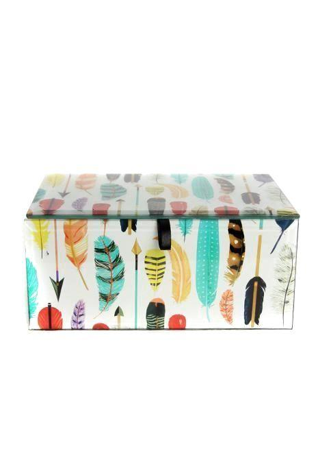 Feathers Glass Box