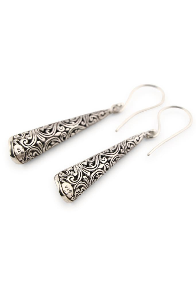 Filigree Cut Out Cone Silver Earrings