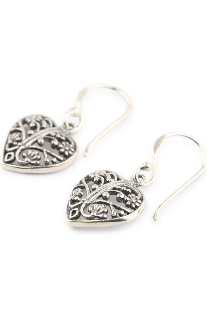 Filigree Heart Silver Earrings
