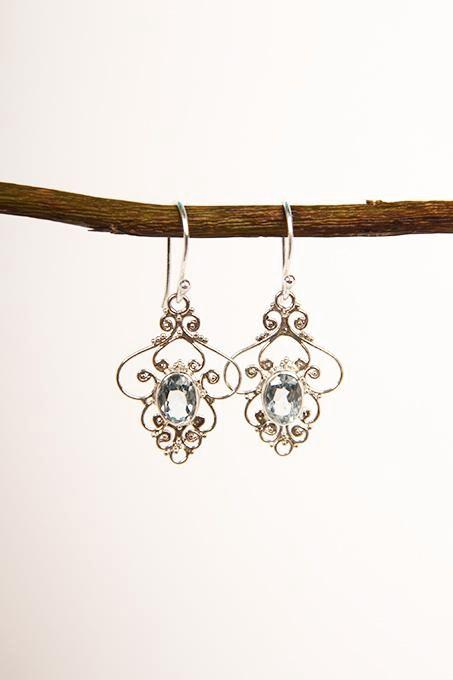 Fine Blue Topaz Filigree Earrings