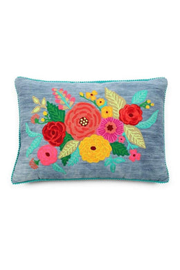 Floral Embroidered Rectangular Cushion