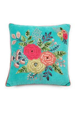 Floral Embroidered Square Cushion