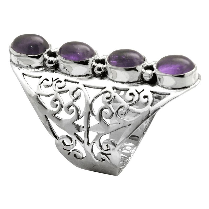 Four Stone Amethyst Jali Ring