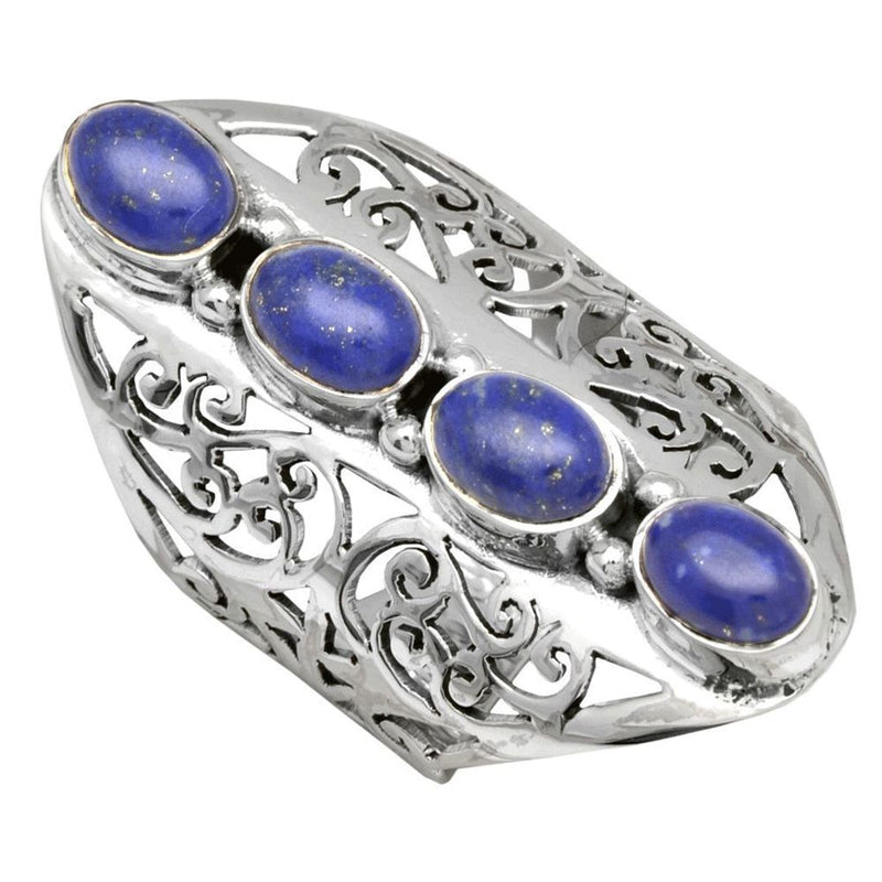Four Stone Lapis Jali Ring