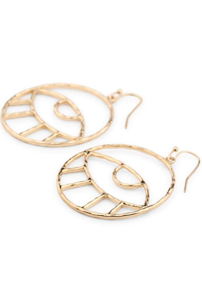 Gold Eye Outline Earrings