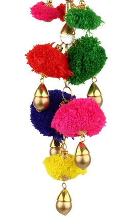 Hanging Pom Poms & Gold Decoration