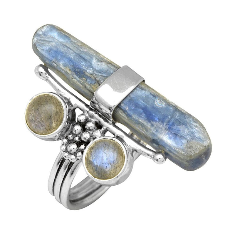 Labradorite & Kyanite Rock Ring