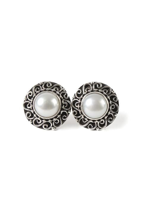 Large Round Pearl Studs