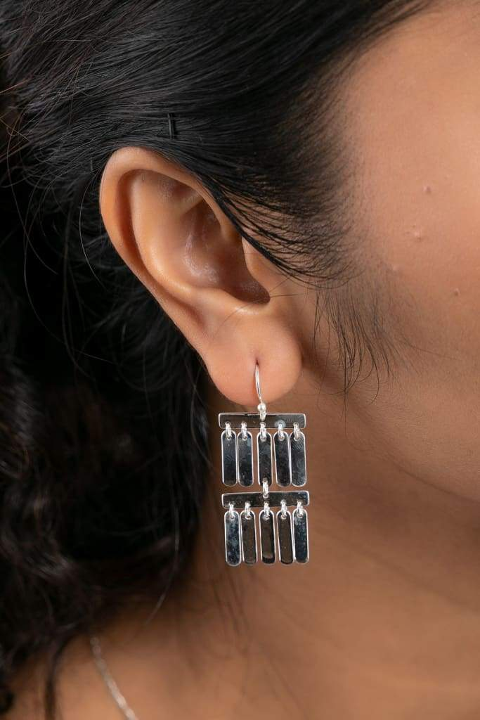 Layered Drop Silver Earrings