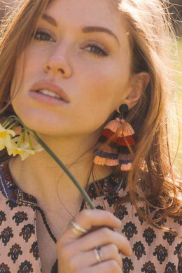 Layered Tassel Statement Earrings