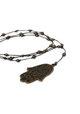 Leather And Hamsa Necklace