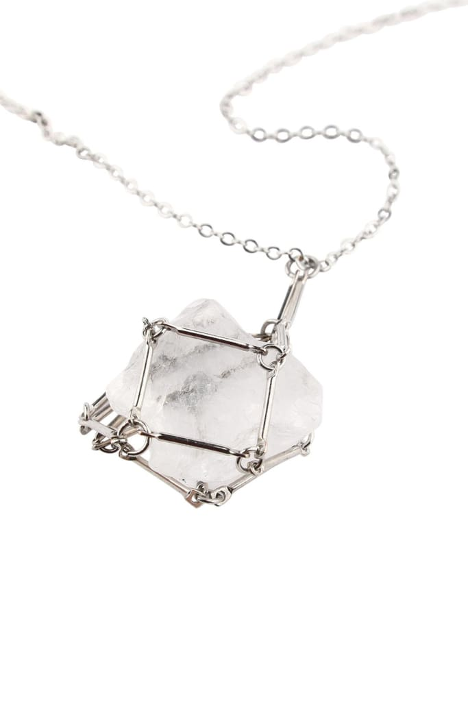 Linked Pouch Gemstone Silver Necklace