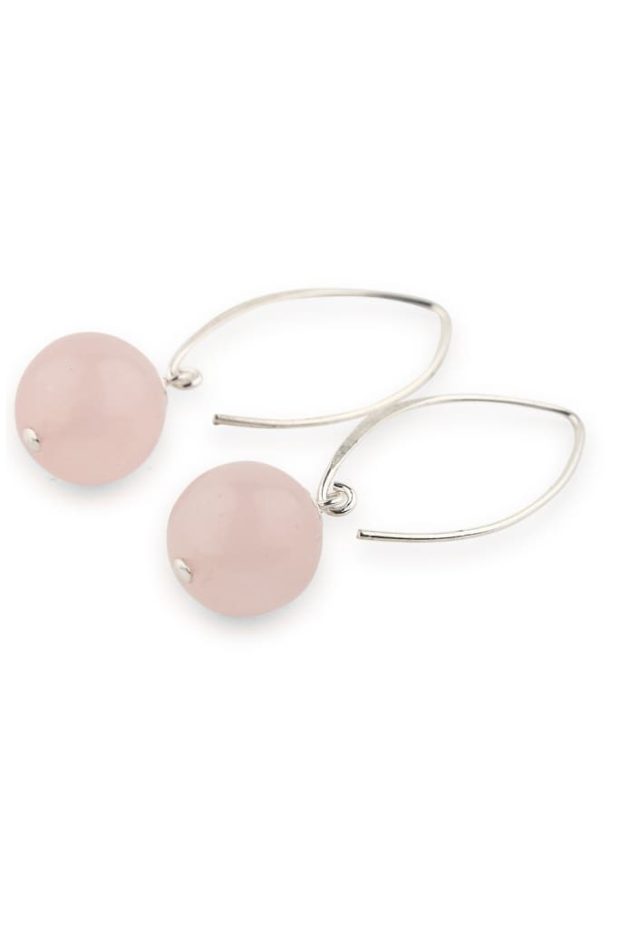 Long Rose Quartz Drop Earrings