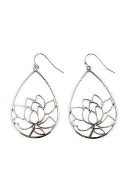 Lotus Filigree Teardrop Earrings