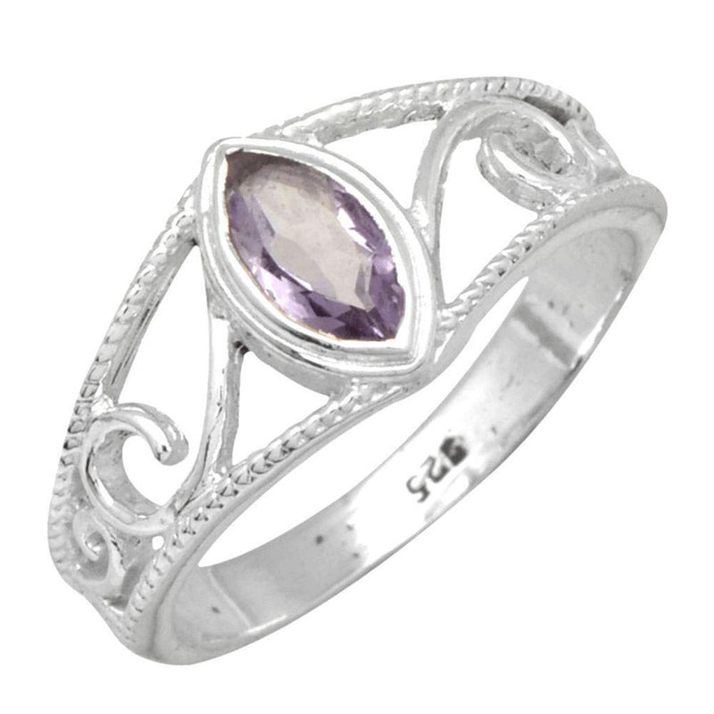 Marquise Amethyst Swirl Band Ring