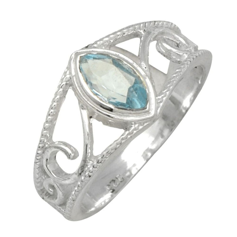 Marquise Blue Topaz Swirl Band Ring