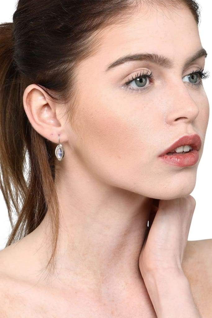 Marquise Moonstone Silver Earrings