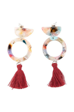 Mini Tassels Multi Acrylic Earrings