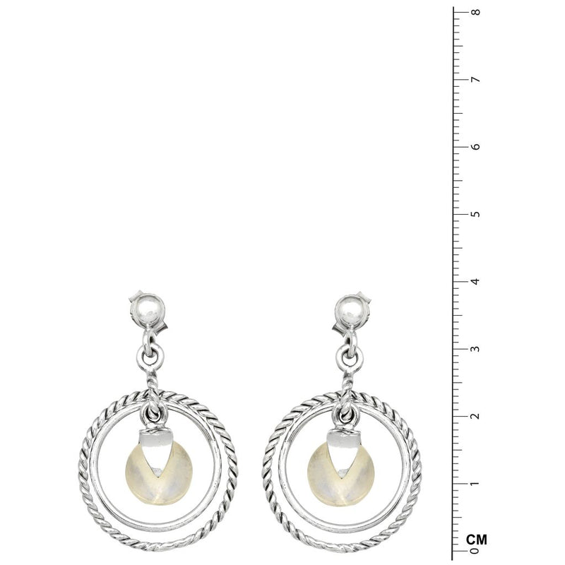 Moonstone Droplet Circle Earrings