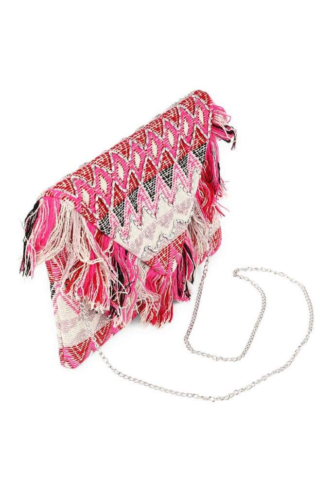 Multi Fringing Envelope Clutch Bag