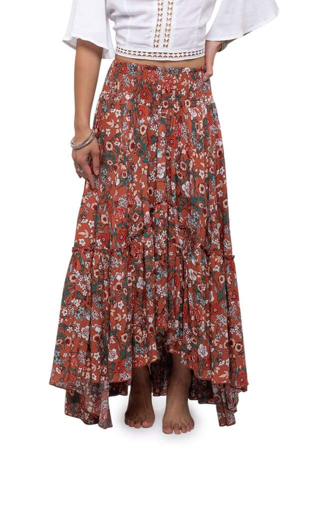 Navy Floral Tiered High Low Skirt