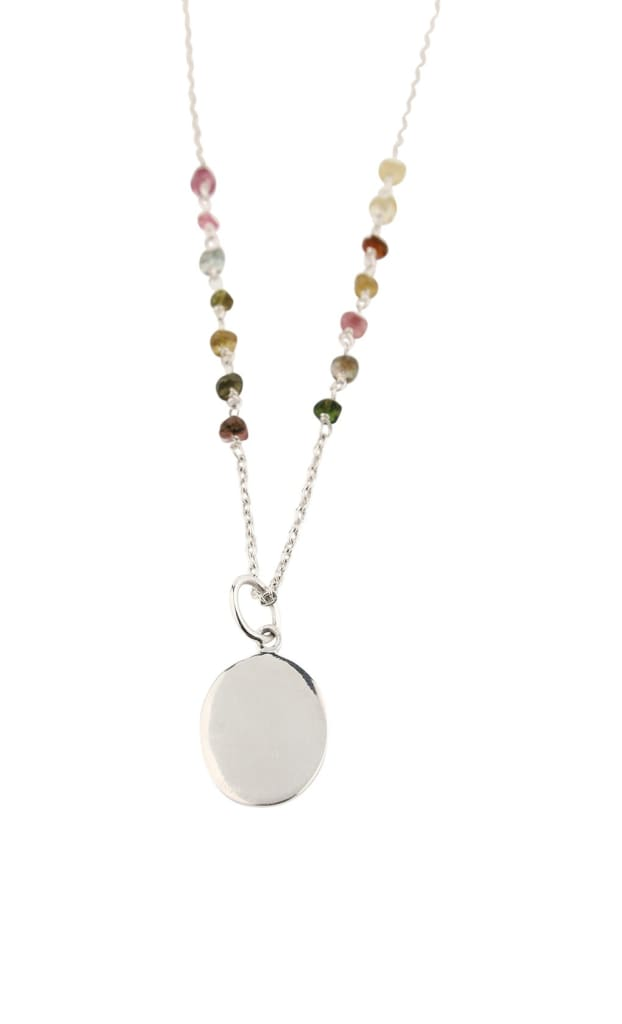 Necklace Gemstone Chips Oval Disc Tourmaline
