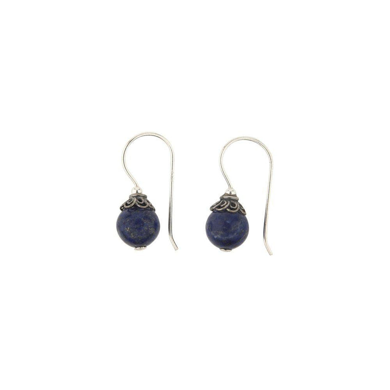 Ornamental Cap Lapis Earrings