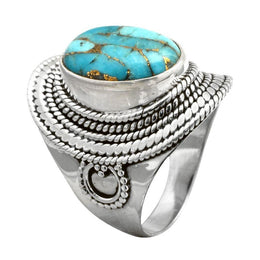 Ornate Copper Turquoise Ring