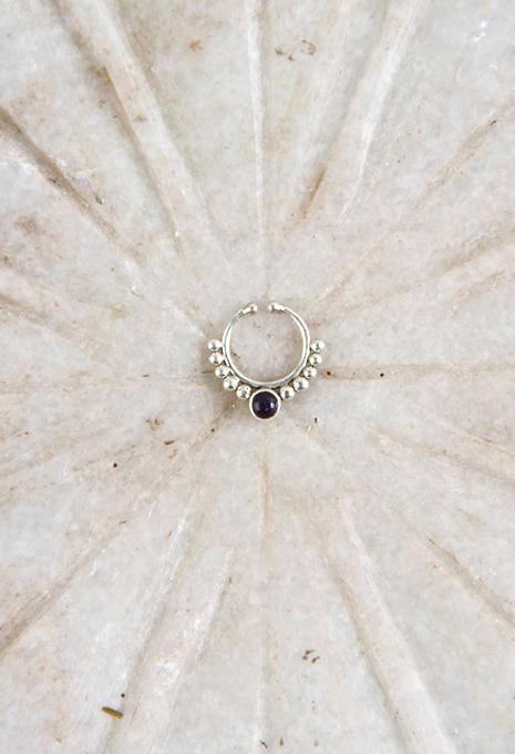 Ornate Stone Septum Ring