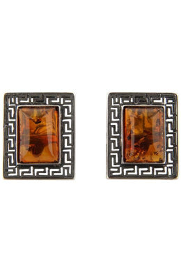 Rectangular Amber Stud Earrings
