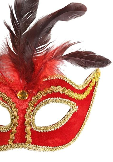 Red & Gold Feather Mask