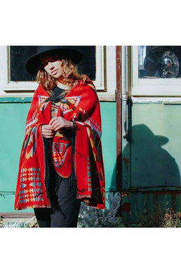 Red Mix Aztec Hooded Poncho