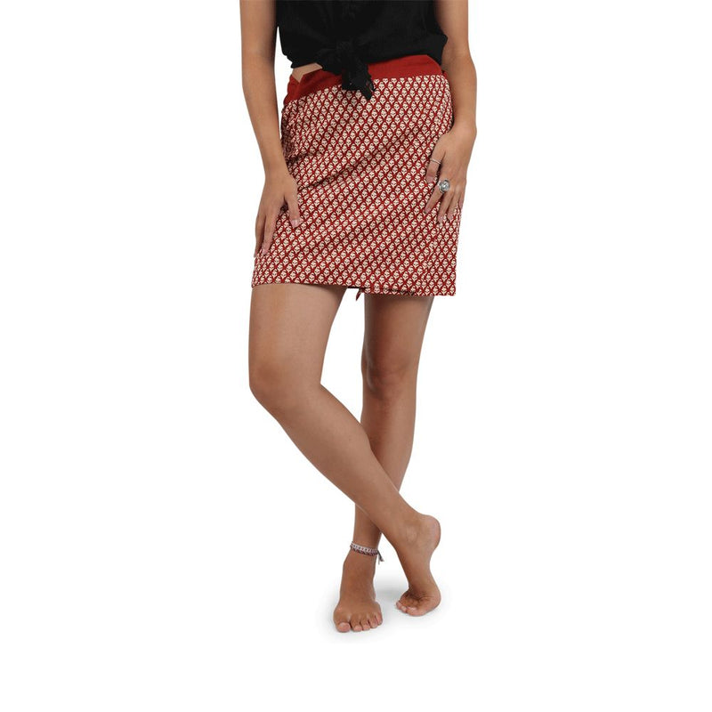 Red Printed Wrap Skirt