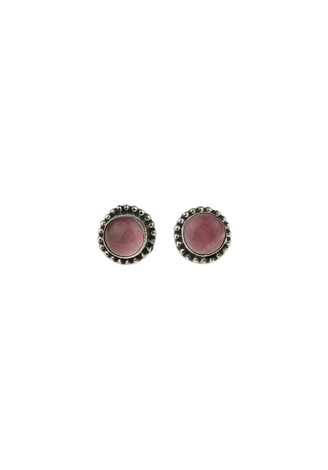Rose Quartz Silver Beaded Studs