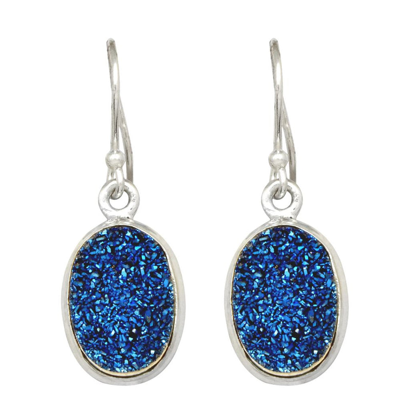 Round Blue Titanium Druzy Earrings