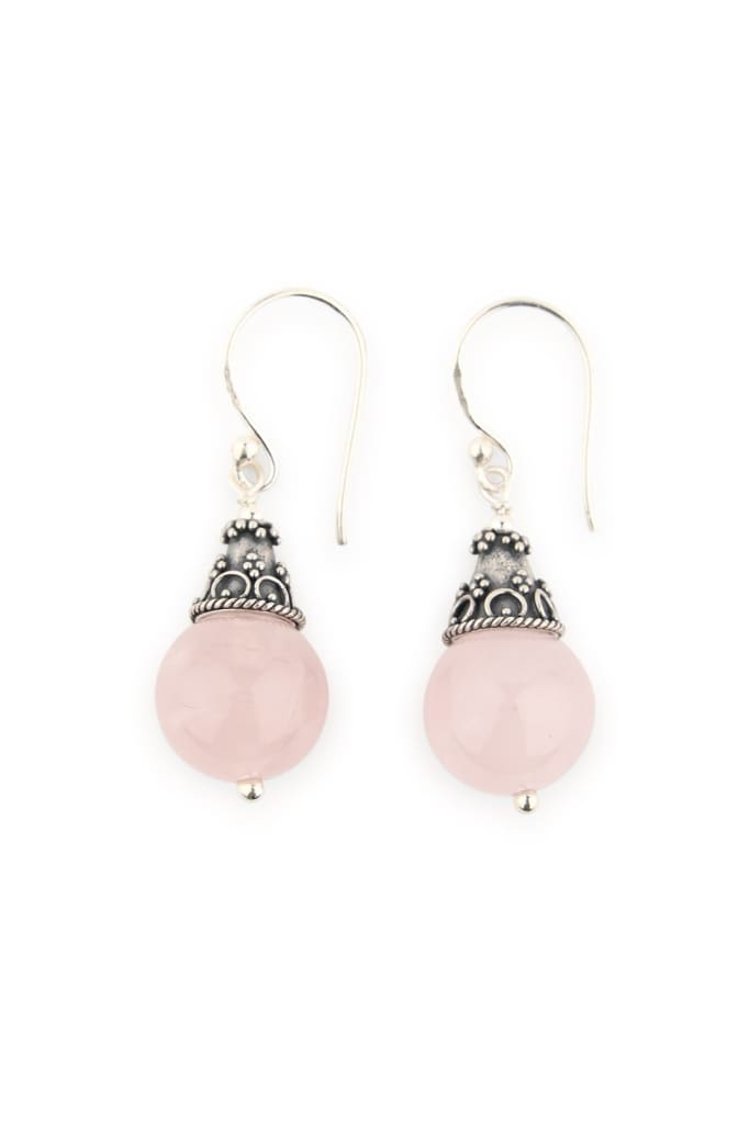 Round Capped Rose Quartz Droplet Earrings